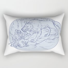 Fenrir Attacking Norse God Odin Drawing Color Rectangular Pillow