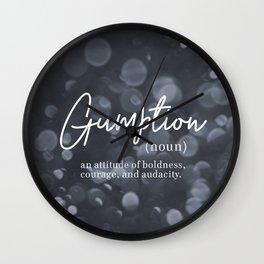 Gumption Definition - Word Nerd - Gray Bokeh Wall Clock