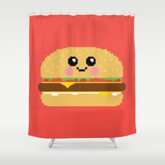 Happy Pixel Hamburger Shower Curtain