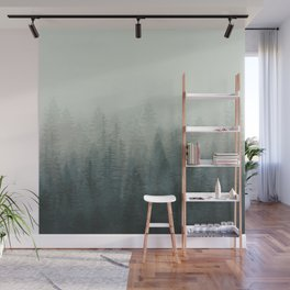 Into The Misty Nature - Turquoise Green Wall Mural