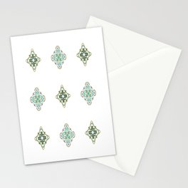 Turquoise With A Tough Of Gold Pattern Stationery Cards