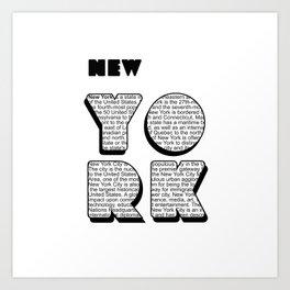 New York in writing Art Print