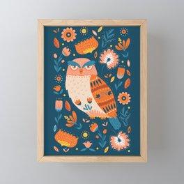 Folk Art Owl on Blue Framed Mini Art Print
