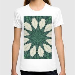 Tropical Sacramento Green and Silver Leaf Mandala T-shirt