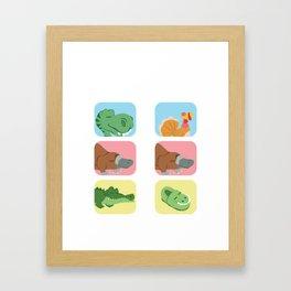 Evolution Dino platypus crocodile joke gift Framed Art Print
