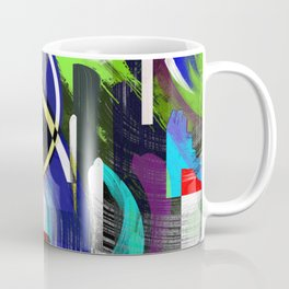 Try To Make Sense Of It All - Random, geometric, eclectic, abstract, colourful art Coffee Mug