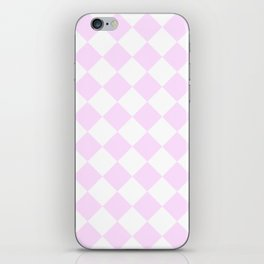 Large Diamonds - White and Pastel Violet iPhone Skin