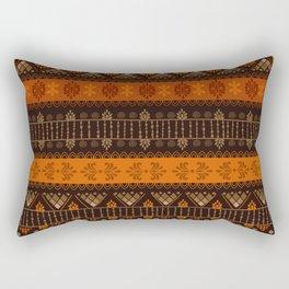 Orange & Black Boho Geometric Pattern Rectangular Pillow