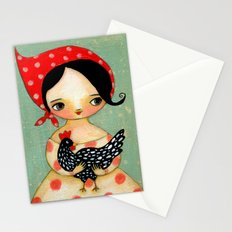 Babusha Girl with Speckled Chicken Stationery Cards