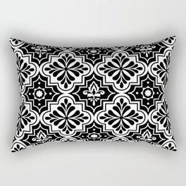 Black and White Geometric Ornamental Moroccan Pattern Rectangular Pillow