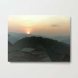 Akha Village in the Mountains at Dawn Laos Metal Print