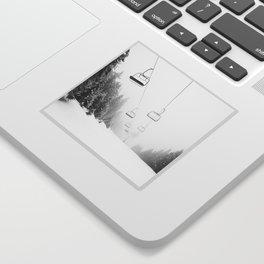 Snow Lift // Ski Chair Lift Colorado Mountains Black and White Snowboarding Vibes Photography Art Print Sticker
