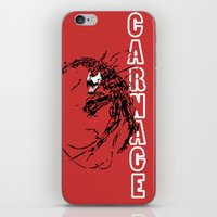 carnage iPhone & iPod Skins featuring Carnage by Young Jake