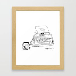 Earnest Hemingway Writing on Typewriter Framed Art Print