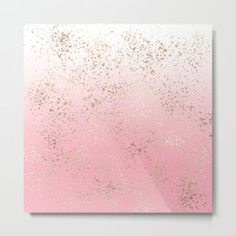 Pink White Ombre Speckled Gold Flakes Metal Print