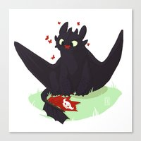 toothless Canvas Prints featuring Toothless by Flora