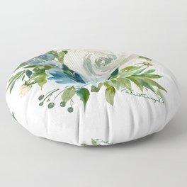 Blue & White Floral Cluster Floor Pillow