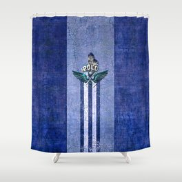 poloplayer blue Shower Curtain