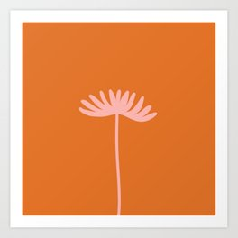 Tall Flower - Floral Minimalism in Pink and Orange Art Print