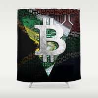 south africa Shower Curtains featuring bitcoin South Africa by seb mcnulty