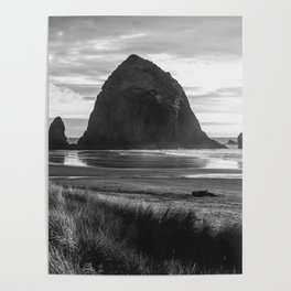 Cannon Beach Sunset - Black and White Nature Photography Poster