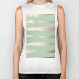 Simply Brushed Stripe White Gold Sands on Pastel Cactus Green Biker Tank