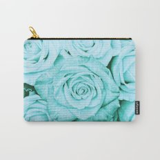 Turquoise roses - flower pattern - Vintage rose on #Society6 Carry-All Pouch