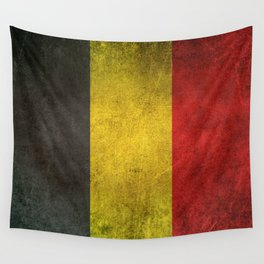 Old and Worn Distressed Vintage Flag of Belgium Wall Tapestry