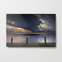 Watching the SunRise from a Boat Dock on Key Islamorada in the Florida Keys Metal Print