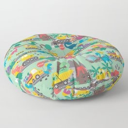 Dinosaur Construction Crew Pattern Floor Pillow