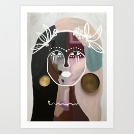 goddess of the candle lid earrings and also the world Art Print
