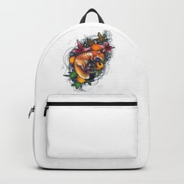 Red Fox Skeleton Pumpkin Flowers Halloween Cute Gift Backpack