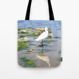 A Heron by the sea Tote Bag