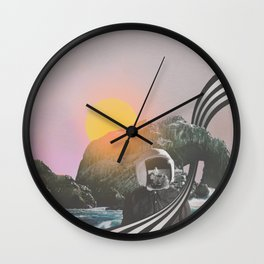 Visiting //// Astronaut Moon Landing Space Collage Art Wall Clock