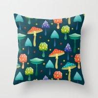 mushrooms Throw Pillows featuring Mushrooms by Julia Badeeva
