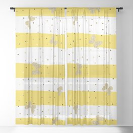 Gold Butterfly on Yellow and White Stripes Sheer Curtain
