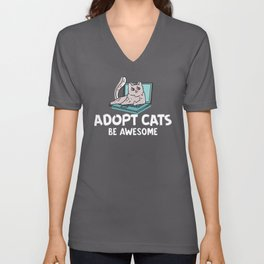 Adopt Cats Be Awesome Unisex V-Neck
