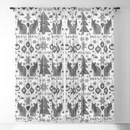 Merry Catmas Folk Art X-mas Pattern Sheer Curtain