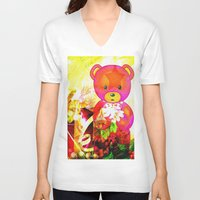 arnold V-neck T-shirts featuring Arnold celebrates Christmas by shiva camille