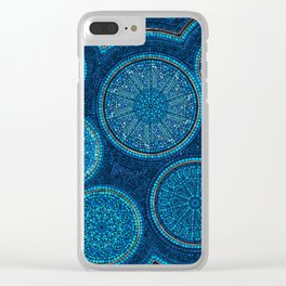 Dot Art Circles Abstract Blue with gold accent Clear iPhone Case