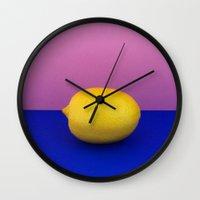 lemon Wall Clocks featuring Lemon by Avarist Fever