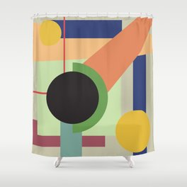Abstract geometric composition study- Space Shower Curtain