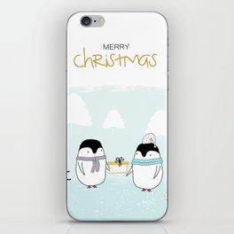 Merry Christmas with sweet penguins iPhone Skin