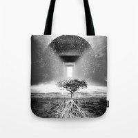 tree of life Tote Bags featuring Life Tree by Murat Erturk
