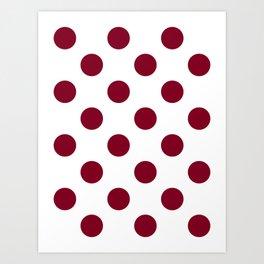 Large Polka Dots - Burgundy Red on White Art Print