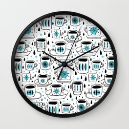 Retro coffee cups teal Wall Clock