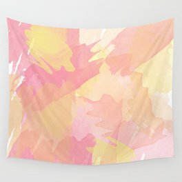 Pink and Yellow Watercolor Wall Tapestry