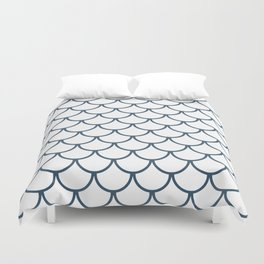 Dusky Blue Fish Scales Pattern Duvet Cover