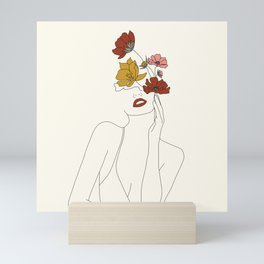 Colorful Thoughts Minimal Line Art Woman with Flowers Mini Art Print