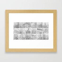 Prague sketches by David A Sutton. 18 piece horizontal. sketchbookexplorer.com Framed Art Print